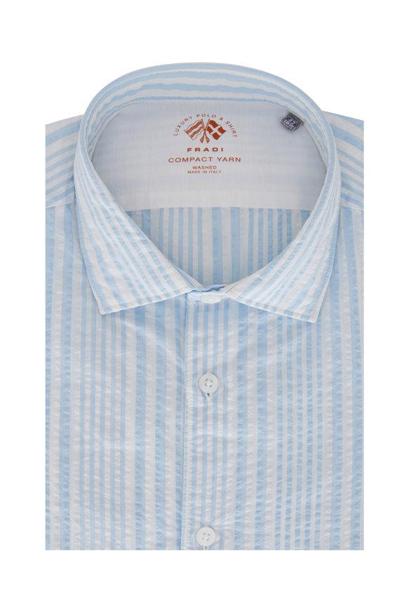 Fradi Light Blue Seersucker Striped Sport Shirt