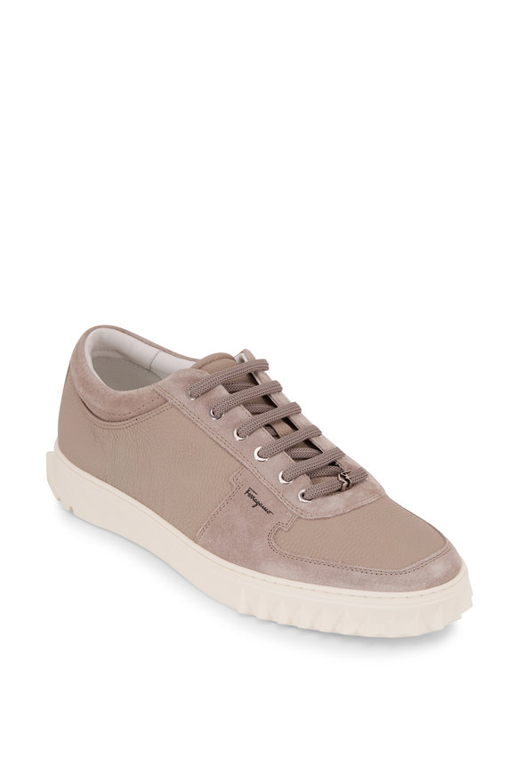 Salvatore Ferragamo Scuby Clay Pebbled Leather & Suede Sneaker