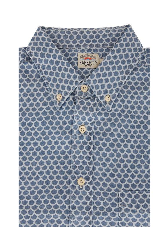 Faherty Brand Everyday Navy Blue Fish Scale Short Sleeve Shirt