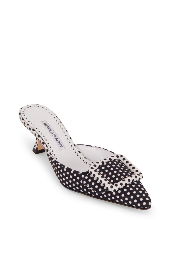 Manolo Blahnik Maysale Black & White Polka Dot Buckle Mule, 50mm