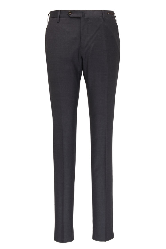 PT Torino Charcoal Gray Wool Super Slim Fit Pant