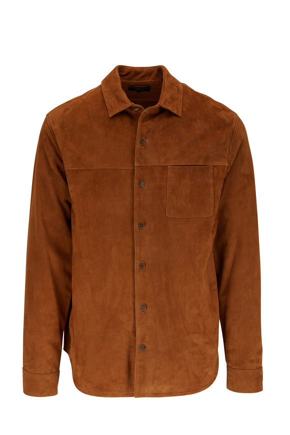 Vince Tobacco Suede Shirt Jacket