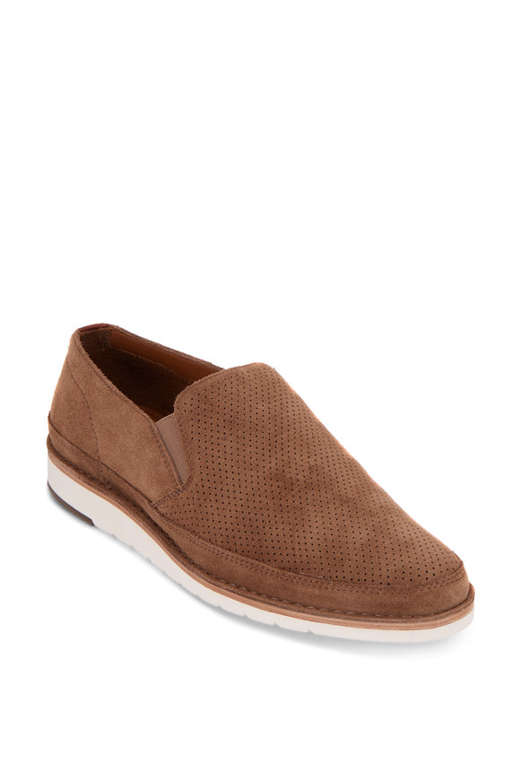 Trask Barnett Taupe Perforated Suede Loafer