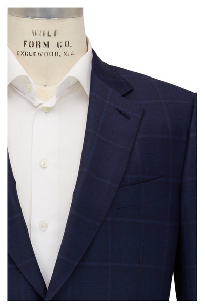 Ermenegildo Zegna - Navy Blue Plaid Wool Sportcoat