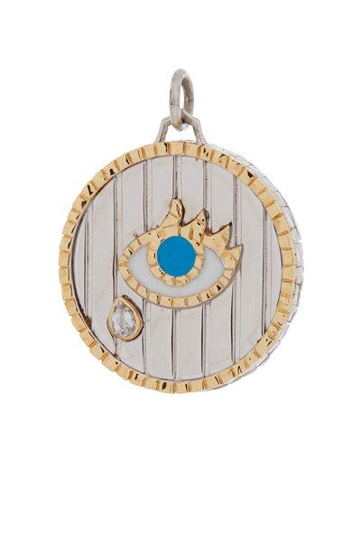 Monica Rich Kosann - Sterling Silver & Gold Stripe & Enamel Eye Charm