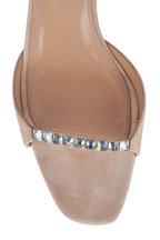 Aquazzura - Diamante Nude Suede & Crystal Slide Sandal, 75mm