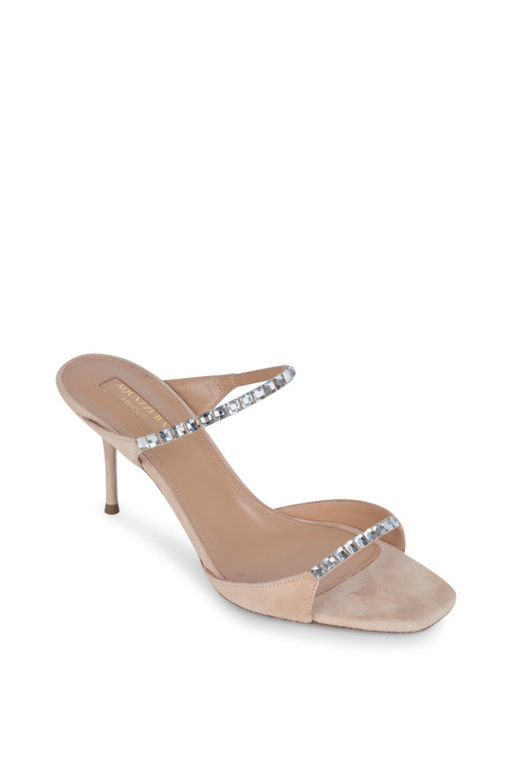 Aquazzura Diamante Nude Suede & Crystal Slide Sandal, 75mm