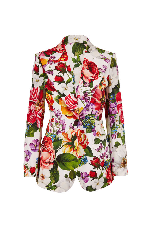 Dolce & Gabbana Turlington White Multi Floral Single Button Blazer