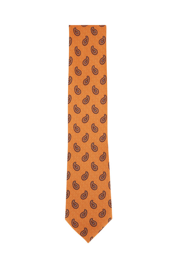 Ermenegildo Zegna Orange Paisley Silk Necktie
