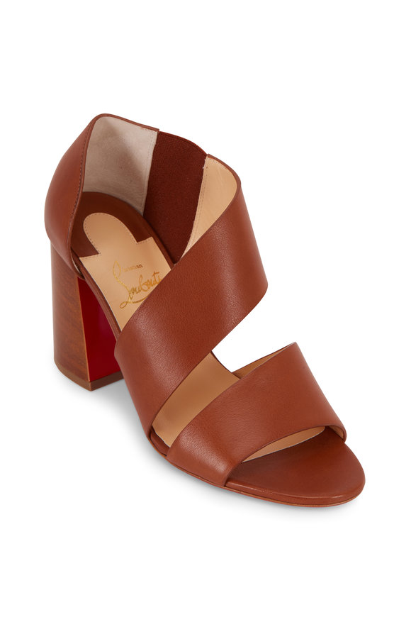 Christian Louboutin Fibi Cuoio Brown Leather Flared Heel Sandal, 85mm