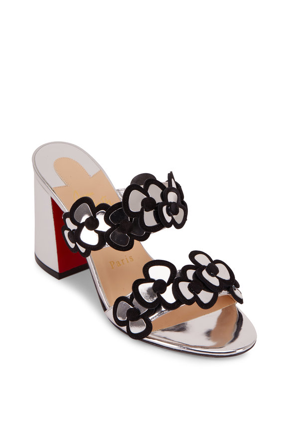 Christian Louboutin Tres Pansy Silver Leather & Black Suede Mule, 85mm