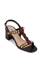 Prada - Black Jeweled & Studded T-Strap Sandal, 55mm