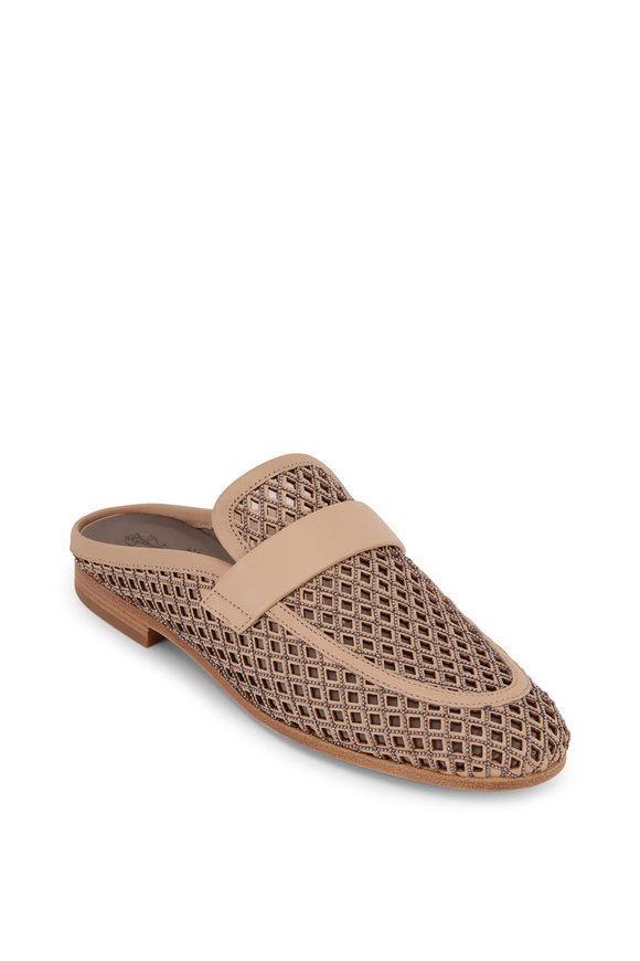 Brunello Cucinelli Light Brown Leather & Net Monili Mule