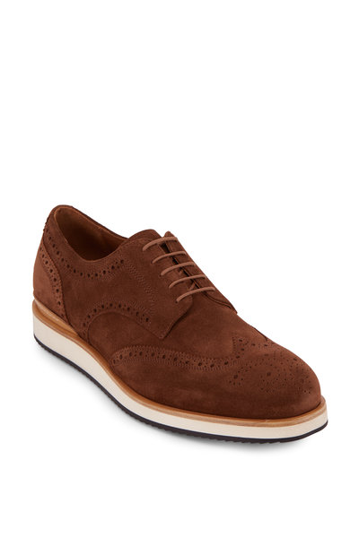 Aquatalia - Vander Chestnut Suede Weatherproof Wingtip Oxford