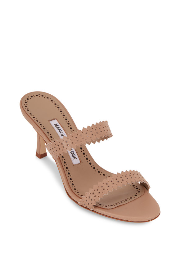 Manolo Blahnik Riesamu Cream Perforated & Scalloped Mule, 70mm