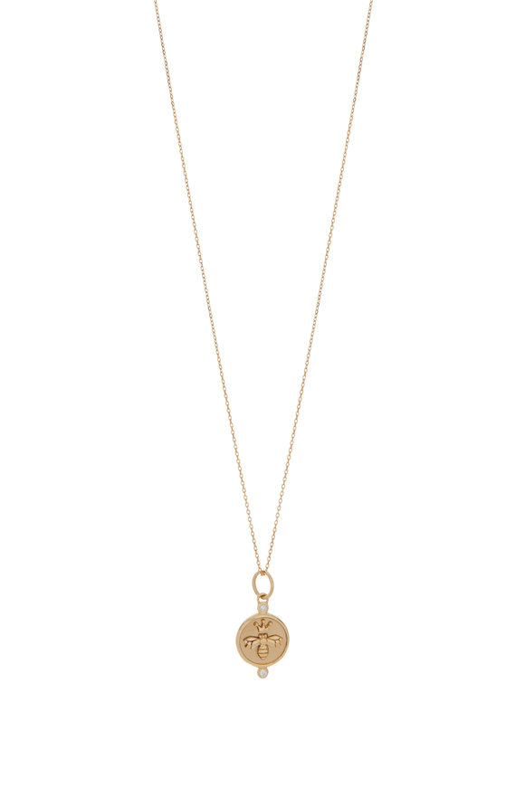 Monica Rich Kosann 18K Yellow Gold Bee Charm Necklace