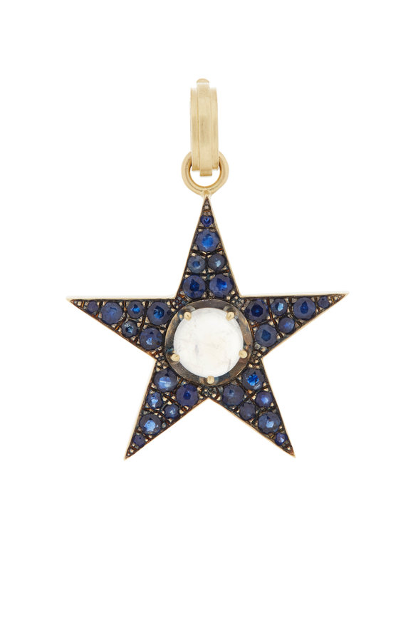 Sylva & Cie 18K Yellow Gold Sapphire Star Pendant Necklace