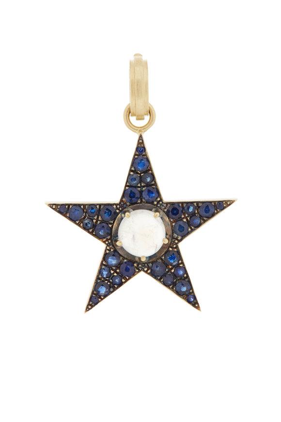 Sylva & Cie 18K Yellow Gold Sapphire Star Pendant Necklace