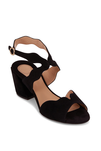 Chloé - Lauren Black Suede Scalloped Sandal, 60mm