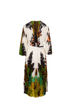 Valentino - Green & White Crepe De Chine Printed Pleated Dress