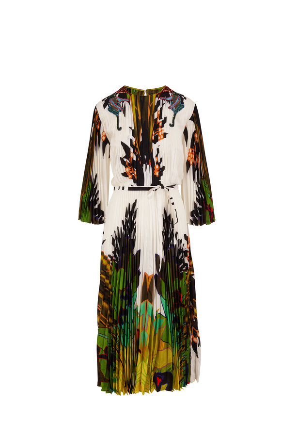 Valentino Green & White Crepe De Chine Printed Pleated Dress