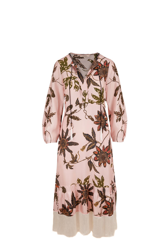 Dorothee Schumacher Rose Article Powerful Flora Silk Long Sleeve Dress