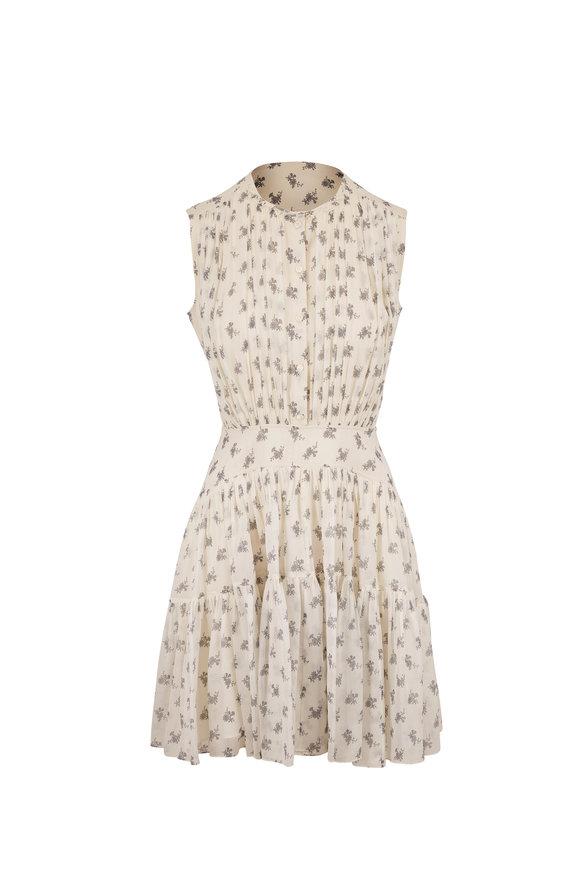 Chloé White & Gray Silk Bouquet Print Sleeveless Dress