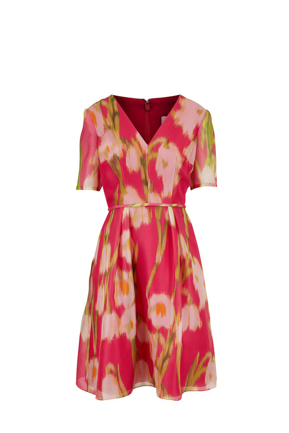 Carolina Herrera Pink Floral Silk Elbow Sleeve V-Neck Dress