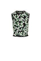 Carolina Herrera - Black Multi Floral Jacquard Cropped Tank