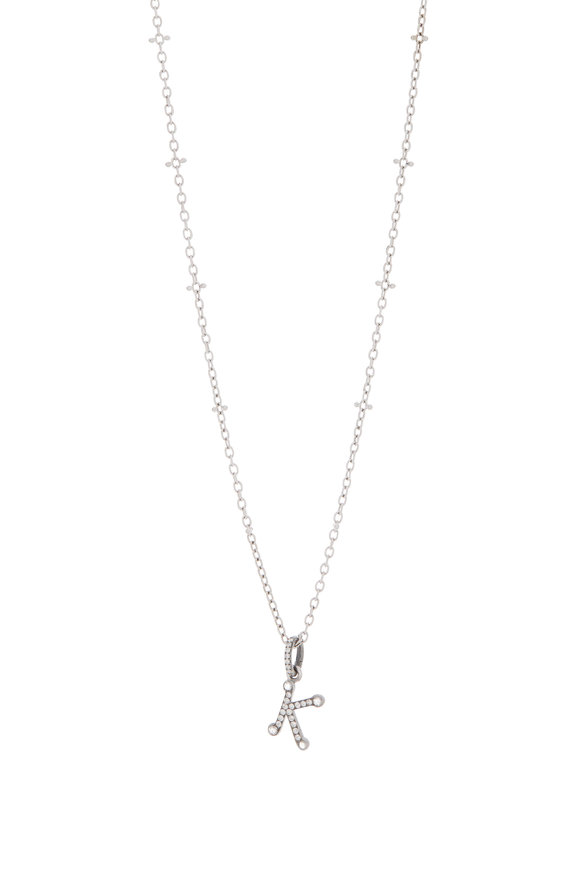 Nam Cho 18K White Gold Initial K Charm Necklace