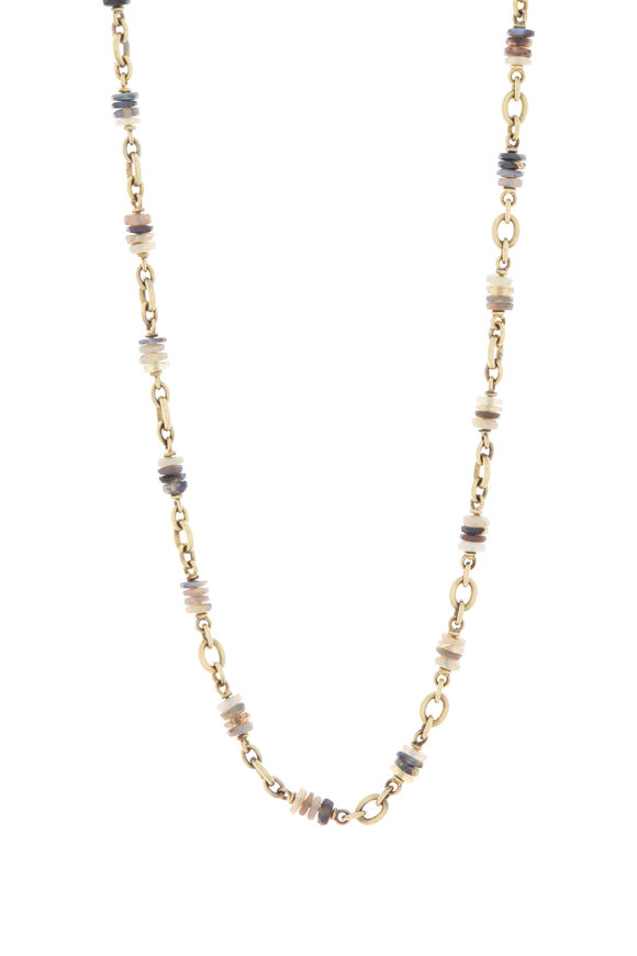 Sylva & Cie 18K Yellow Gold Opal Beaded Chain Necklace