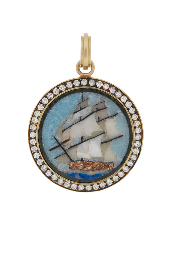Sylva & Cie Yellow Gold Mosaic Ship Charm