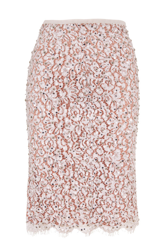 Michael Kors Collection Optic White Floral Lace Embellished Skirt