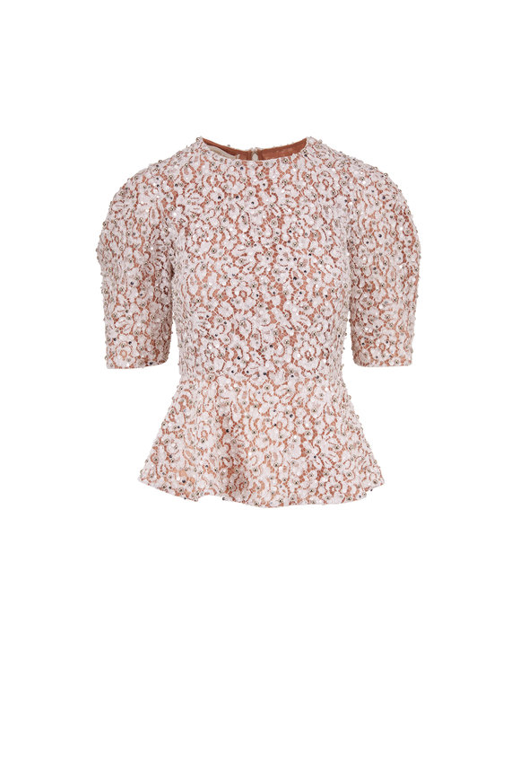 Michael Kors Collection Optic White Floral Lace Peplum Top