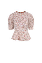 Michael Kors Collection - Optic White Floral Lace Peplum Top