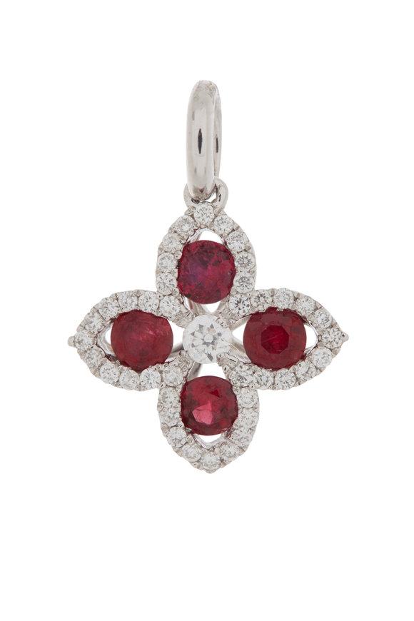 Cairo 18K White Gold Diamond & Ruby Pendant