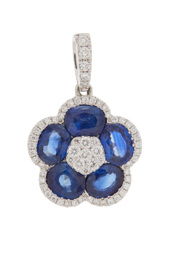 Cairo 18K White Gold Sapphire & Diamond Pendant