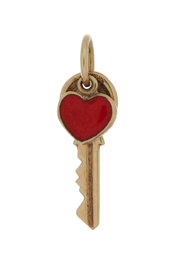 Fred Leighton 9K Yellow Gold Key & Red Enamel Heart Charm