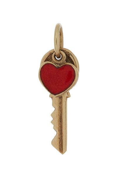 Fred Leighton - 9K Yellow Gold Key & Red Enamel Heart Charm