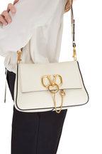 Valentino Garavani - V-Sling Ivory Leather Webb Strap Small Bag
