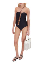 Tom Ford - Black Asymmetric Lace Up Swimsuit