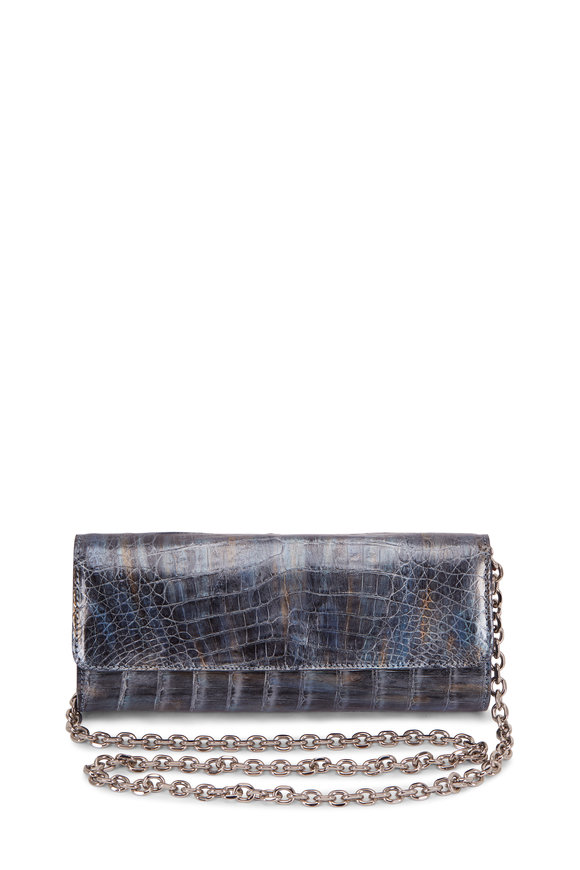 Judith Leiber Couture Kate Denim Silver Crocodile Chain Clutch