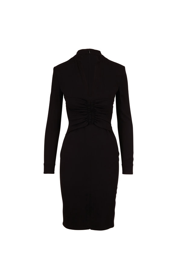 Tom Ford Black Double Georgette Front Gathered Dress