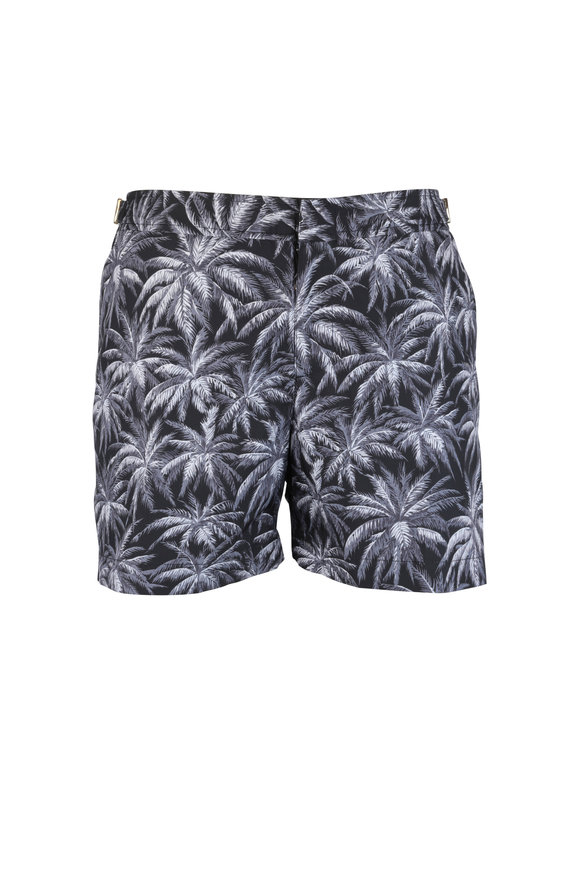 Orlebar Brown Setter Gray Palm Tree Print Swim Trunks