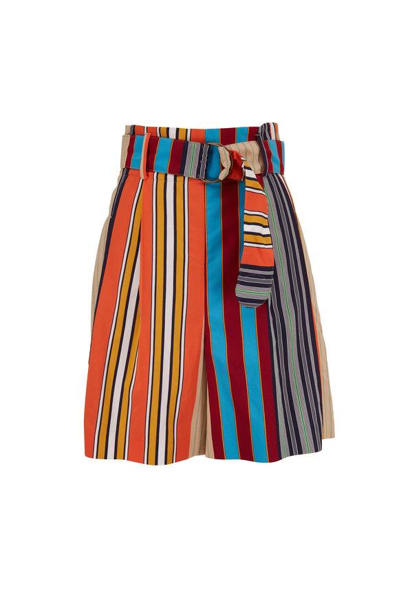 Akris Punto Fiorella Parasol Stripe Belted Short