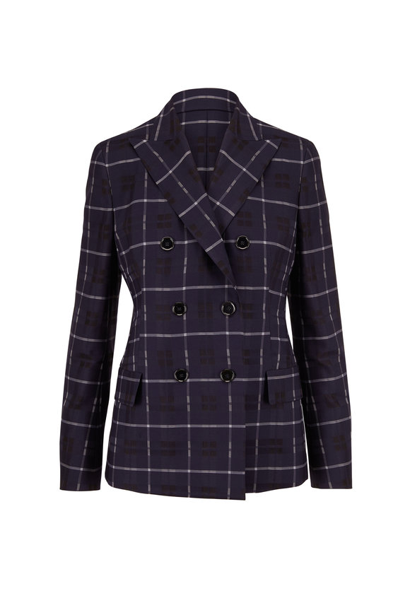 Akris Dark Navy Transparent Plaid Double-Breasted Jacket