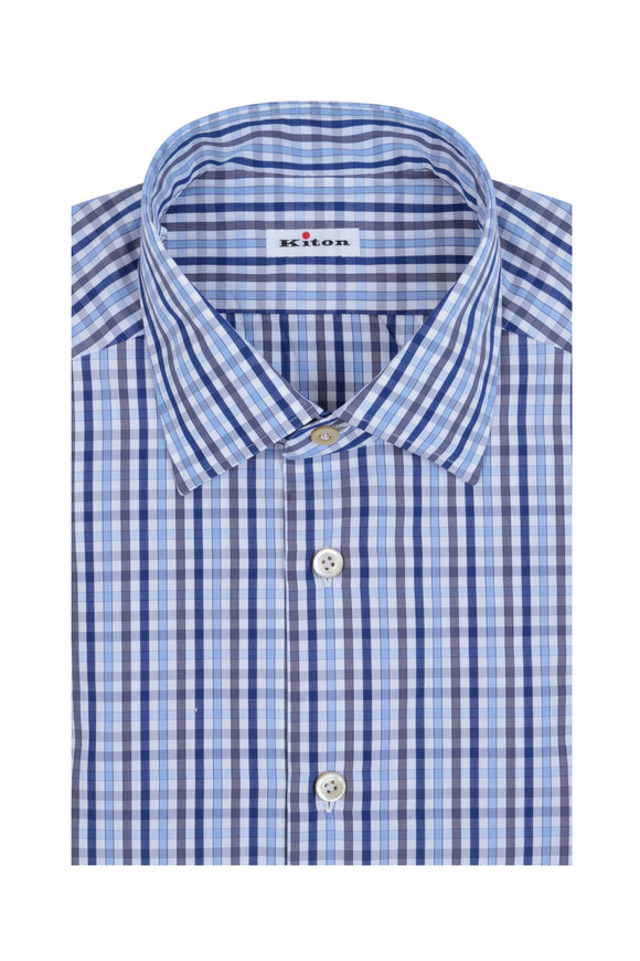 Kiton Blue & Gray Tattersall Dress Shirt
