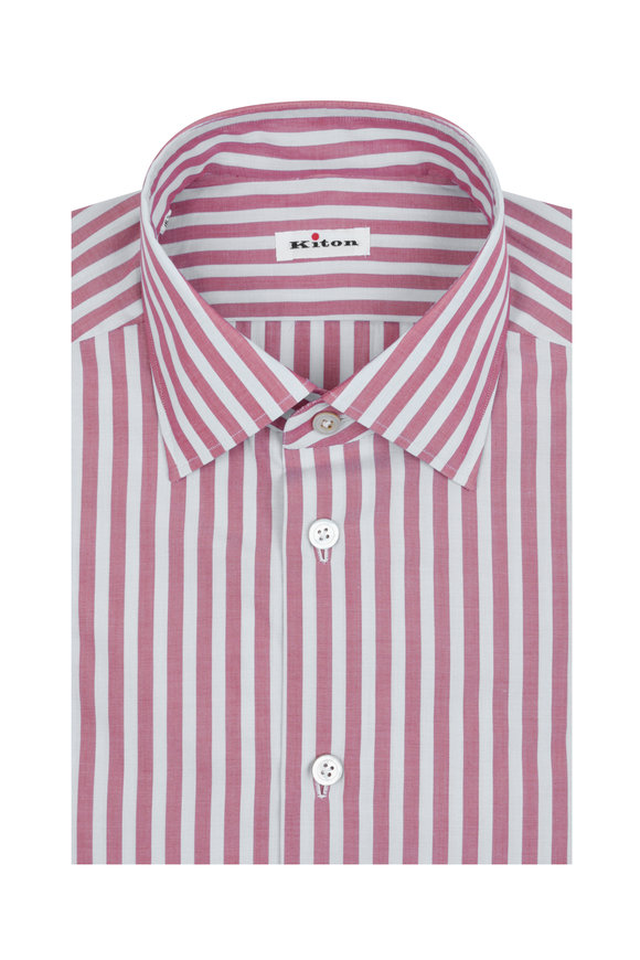 Kiton Light Blue & Red Striped Dress Shirt