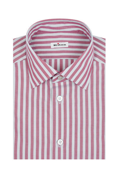 Kiton - Light Blue & Red Striped Dress Shirt
