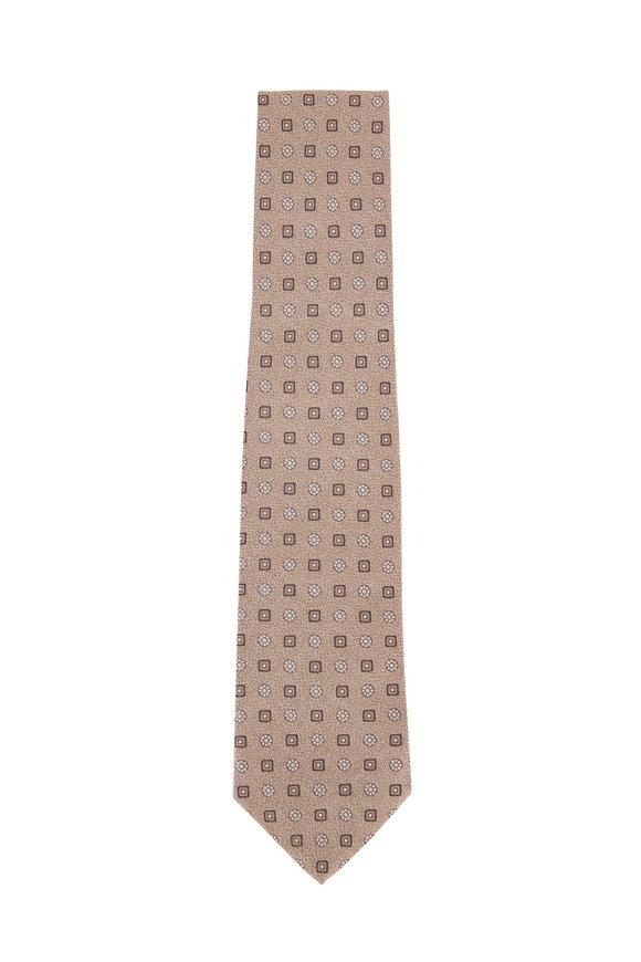 Isaia Tan Geometric Necktie